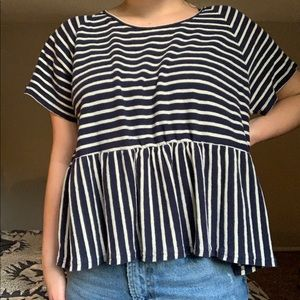 Navy and white striped peplum top